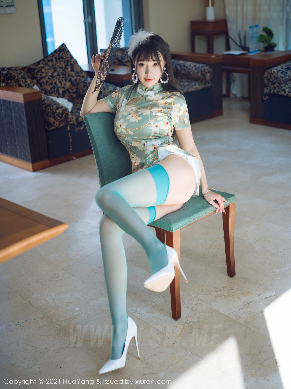HuaYang 花漾show Vol.390 青瓷色旗袍 朱可儿Flower 三亚旅拍写真 - 4
