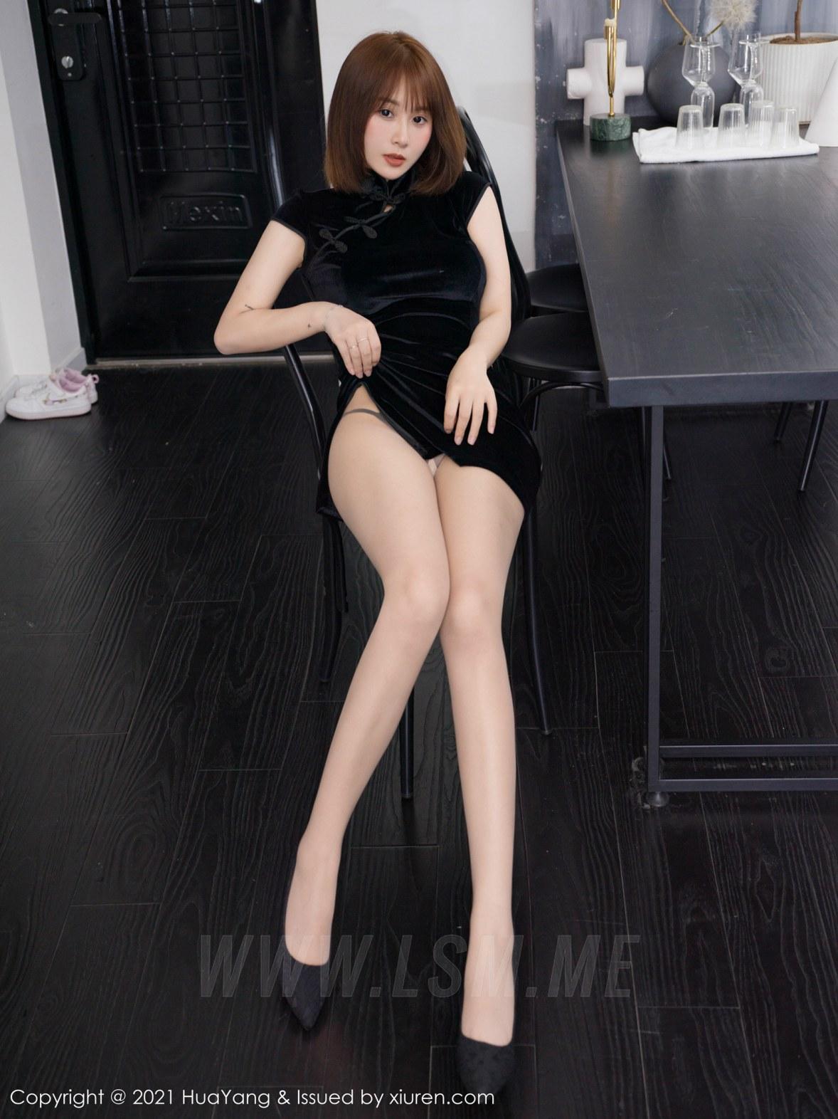 HuaYang 花漾show Vol.428 新人模特 恬恬GuTIan 旗袍与魅惑丝袜第... - 1