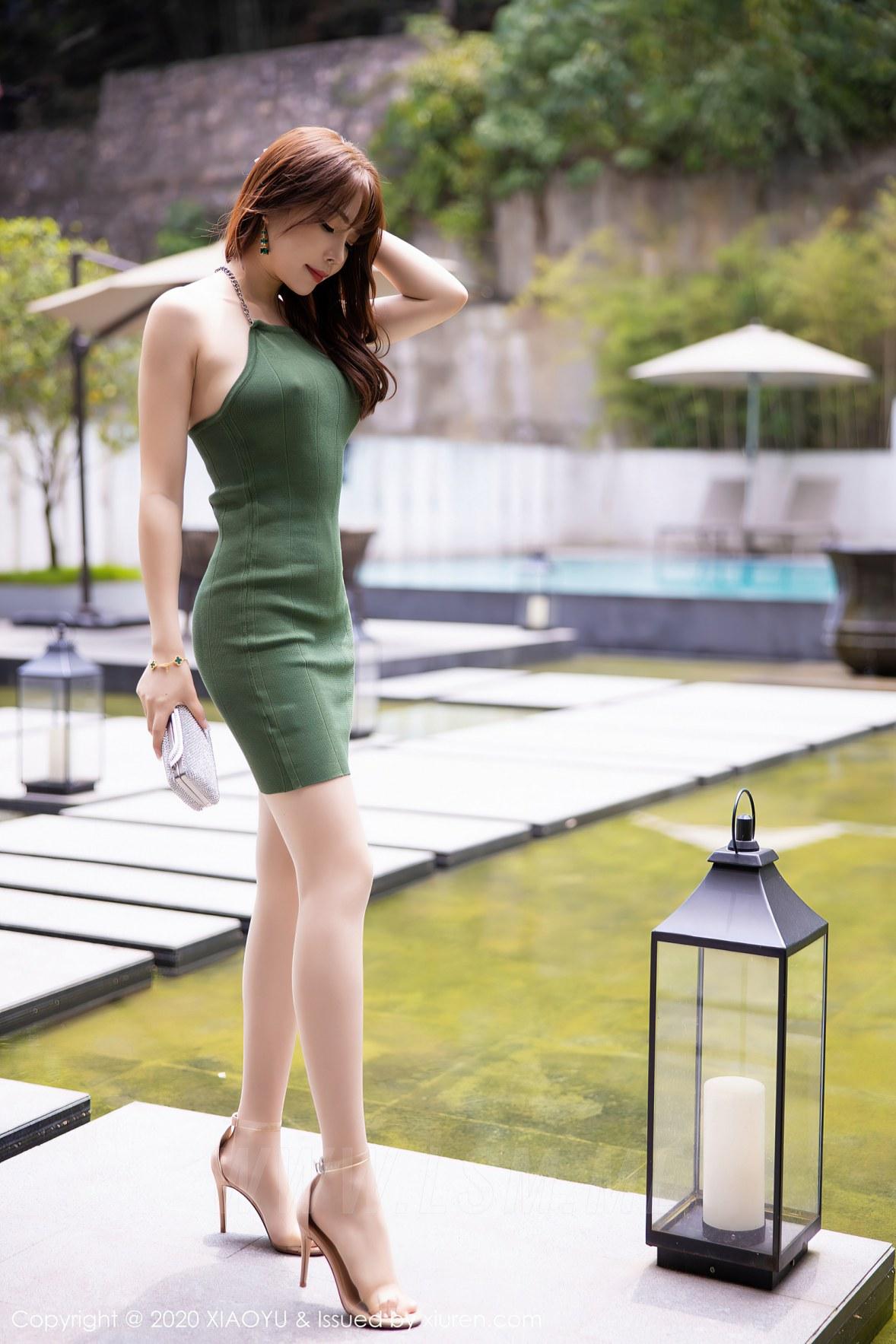 XIAOYU  语画界 Vol.425 针织绿色吊裙 芝芝 - 1