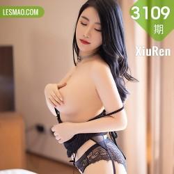 XiuRen 秀人 No.3109  绯月樱 条纹吊裙黑丝网袜