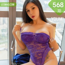 YOUMI 尤蜜荟 Vol.568 紫色镂空连体内衣 田冰冰