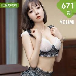 YOUMI 尤蜜荟 Vol.671  黑色蕾丝吊袜 果儿Victoria 西双版纳旅拍3